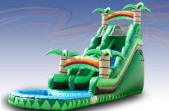 18' Island Palm Single lane Water Slide