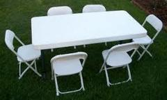 New Childrens 6 Ft Rectangular Banquet Table and 6 Chair set