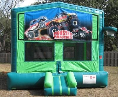 Monster Truck Themed 2 in 1 GREEN Bounce w/Hoops - UNIT #113
