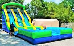 *NEW* 20ft Green Two Lane Drop Zone Water Slide w/ HUGE POOL! - UNIT #526 + #612