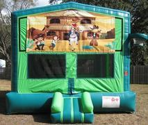 Wild West 2 in 1 GREEN Bounce w/Hoops - UNIT #113
