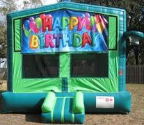 Happy Birthday 2 in 1 GREEN Bounce w/Hoops - UNIT #113