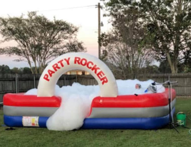 inflatable foam pit party and machine