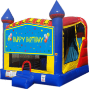 Happy Birthday Large Castle Combo with Slide and Basketball Hoop