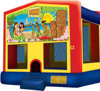 Bounce House with hoop Luau