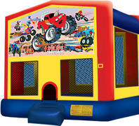 Bounce House with hoop Monster Trucks