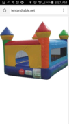 Indoor 8ft Bounce House 8ft H x 12ft L x 8ft W