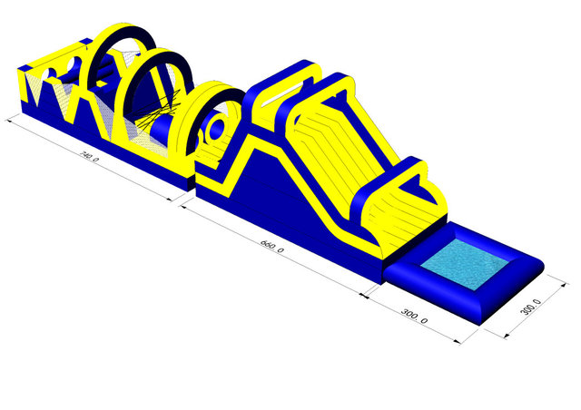 #606 Yellow Obstacle Course w/pool 45x12x15 503+504