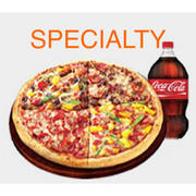 Adult Large Specialty Pizza and 2 liter soda