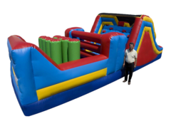 "<b><font color=""red"">Backyard Obstacle Course</font><br><small><font color=""blue"">32 ft of action packed fun</font><br>Perfect for most backyards</small></b>"