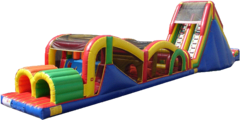 "<b><font color=""red"">Huge Extreme Rush Obstacle with Slide</font><br><small><font color=""blue"">With 19ft tall slide!</font><br>Our most popular obstacle course</small></b>"