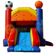 "<b><font color=""red"">Sports Combo</font><br><small><font color=""blue"">Sports bouncy castle with slide</font><br>Great for ages 3+</small></b>"
