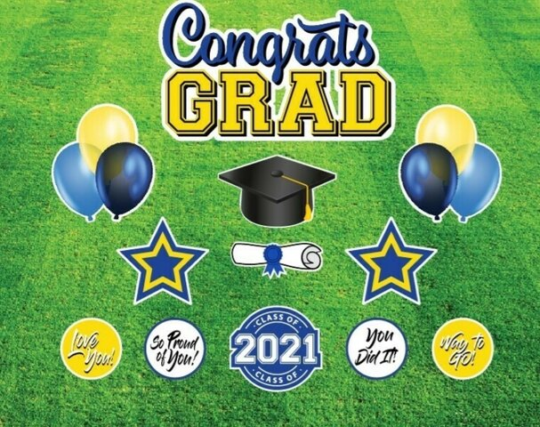 CONGRATS GRAD 2021 - BLUE/YELLOW