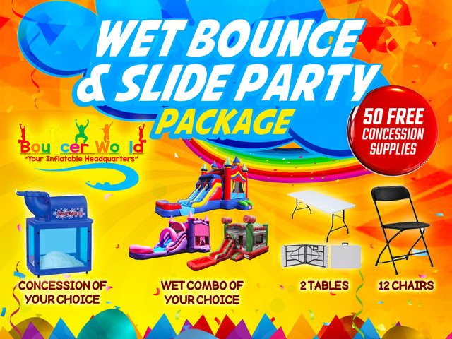 1 WET BOUNCE & SLIDE PARTY PACKAGE