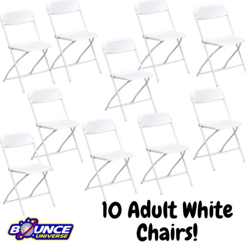 White Folding Chairs - Bundles of 10