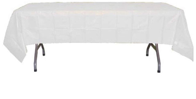 White Rectangle Plastic Tablecloth 54