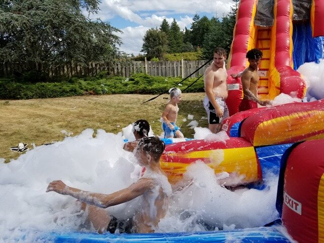 Fire and Ice water slide with foam party