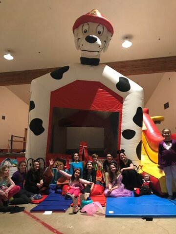 Dalmatian bounce house and slide