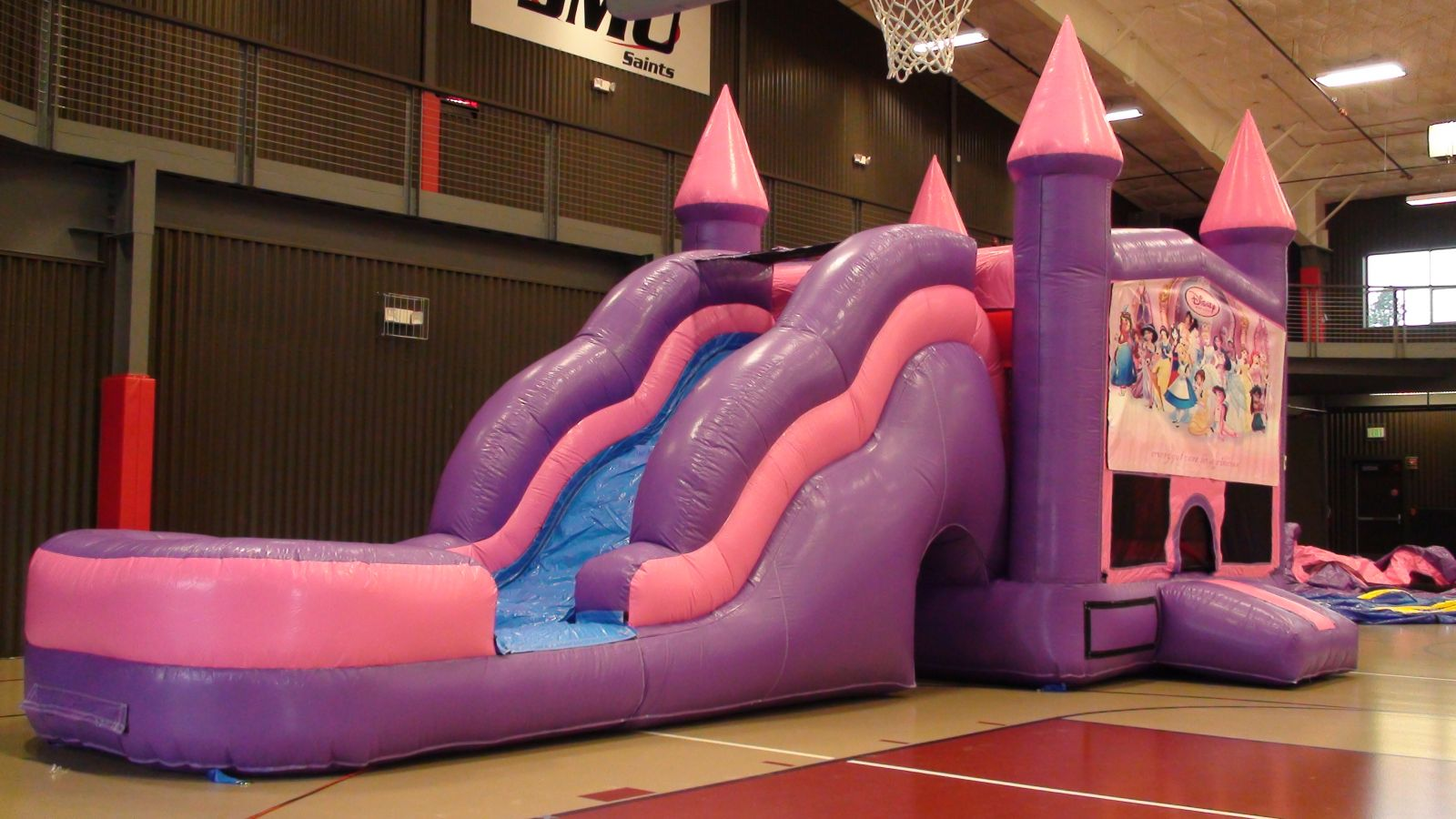 Pink wave slide castle