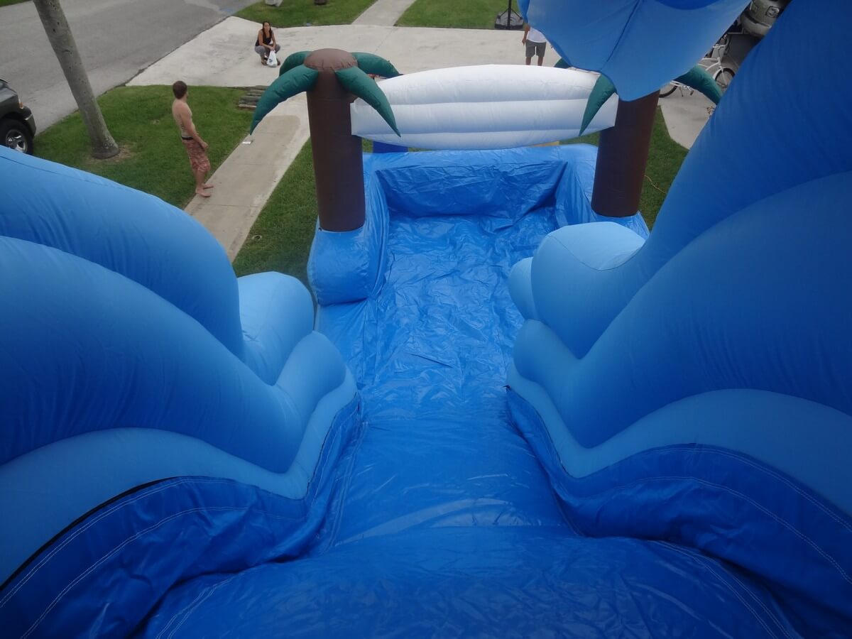 Looking down the Surf city water slide