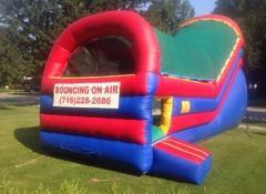 "<font color=red><b>Backyard Slide<br></font></b><small>Best for ages 5+ and Up<font color=red> |</font><font color=""orange""><b>1 Outlet Needed</font><br><font color=blue> Size 26 x 11 x16</font>"