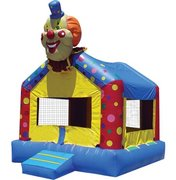 "<font color=red><b>Clown Bounce House<br></font></b><small>Best for ages 2+ and Up<font color=red> |</font><font color=""orange""><b>1 Outlet Needed</font><br><font color=blue> Size 15 x 15 x15</font>"
