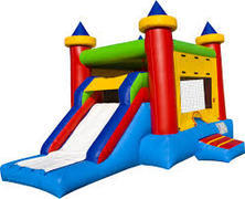 "<font color=red><b>Castle Slide Combo<br></font></b><small>Best for ages 5+ and Up<font color=red> |</font><font color=""orange""><b>1 Outlet Needed</font><br><font color=blue> Size 20 x 15 x14</font>"
