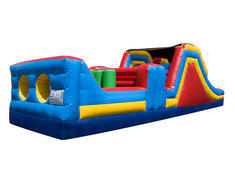 "<font color=red><b>32ft Obstacle<br></font></b><small>Best for ages 3+ and Up<font color=red> |</font><font color=""orange""><b>1 Outlet Needed</font><br><font color=blue> Size 32 x 14 x15</font>"
