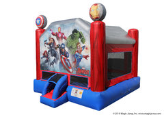 "<font color=red><b>Avengers Bounce House<br></font></b><small>Best for ages 2+ and Up<font color=red> |</font><font color=""orange""><b>1 Outlet Needed</font><br><font color=blue> Size 15 x 15 x15</font>"