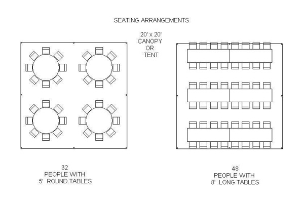 20x20 Tent Seating Chart for 32 and 48.
