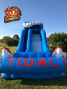 22 ft. The Tidal Wave Single Lane W/Landing Pad $220Best for ages 4+ Space Needed 45 L x 25 W x 20 H