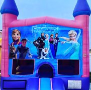 Frozen Bounce House w/Basketball Hoop Inside $95Best for ages 4+ Space Needed 15 W x 15 D x 16 H