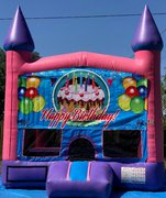 Girls Happy Birthday Bounce House w/Basketball Hoop Inside $95Best for ages 4+ Space Needed 15 W x 15 D x 16 H