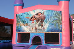 Moana Bounce House w/Basketball Hoop Inside $95Best for ages 4+ Space Needed 15 W x 15 D x 16 H