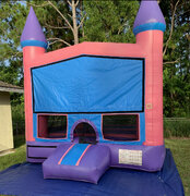Pink & Purple Bounce House w/Basketball Hoop Inside $85Best for ages 4+ Space Needed 15 W x 15 D x 16 H