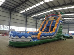 18' Double Lane Tiki Water Slide With Pool