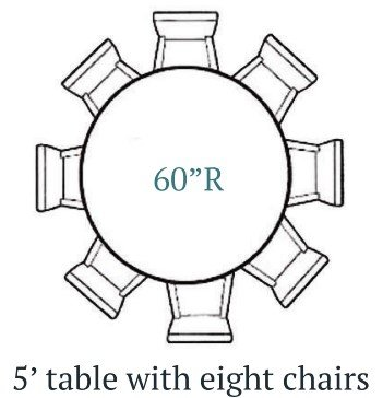 5 Ft Round Table (1) With Chairs (8)