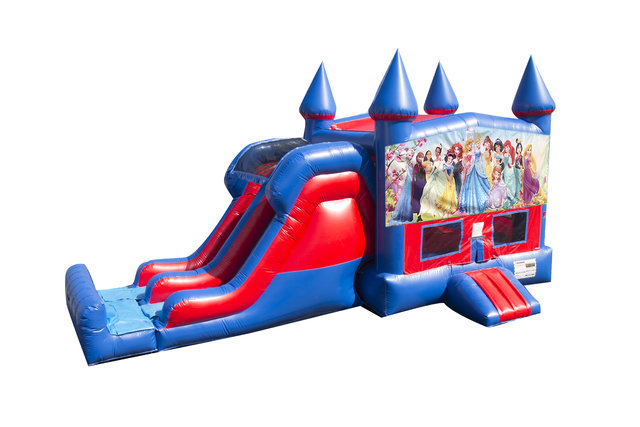 All Disney Princesses 7' Double Lane Dry Slide With Bounce House