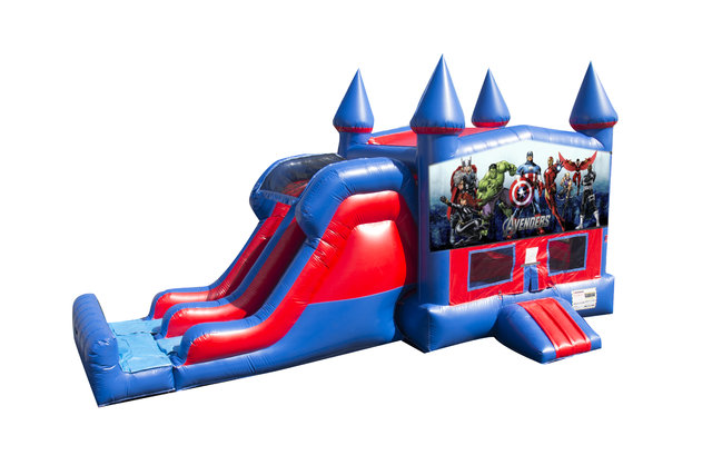Avengers 7' Double Lane Dry Slide With Bounce House