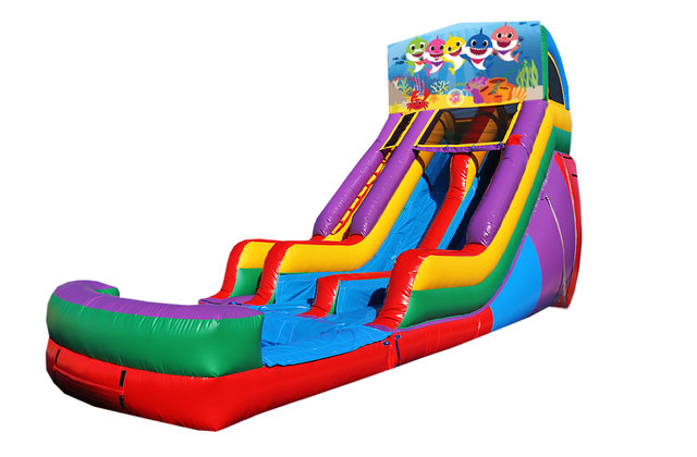 Baby Shark 18' Double Lane Water Slide