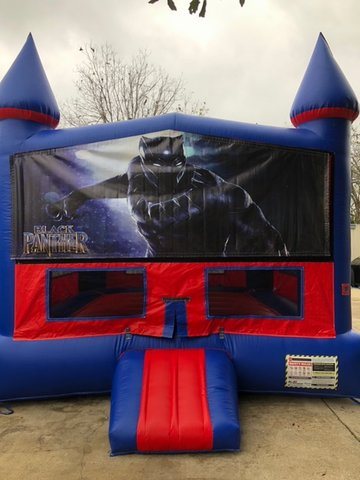 Black Panther Bounce House With Basketball Goal