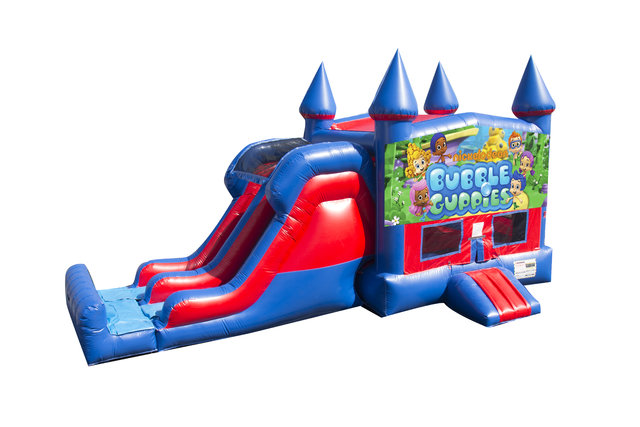 Bubble Guppies 7' Double Lane Dry Slide With Bounce House