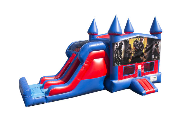 Call of Duty 7' Double Lane Dry Slide With Bounce House