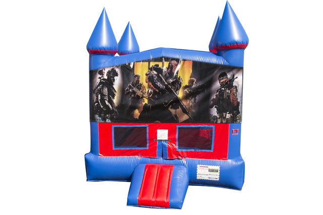 Call of Duty Bounce House with Basketball Goal