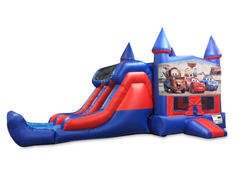 Cars 7' Double Lane Dry Slide Bounce House Combo