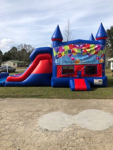 Congratulations 7' Double Lane Dry Slide Bounce House Combo
