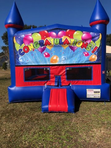 Congratulations Bounce House With Basketball Goal