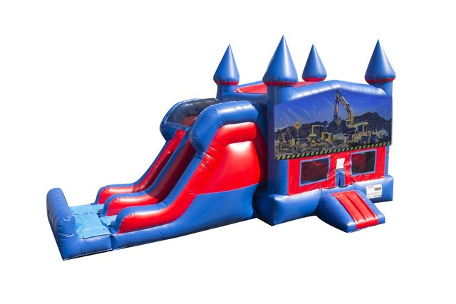 Construction 7' Double Lane Dry Slide Bounce House Combo