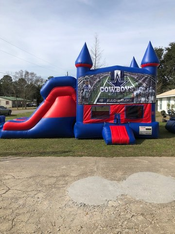 Dallas Cowboys 7' Double Lane Dry Slide With Bounce House