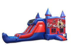 Dalmatians 101 7' Double Lane Dry Slide With Bounce House